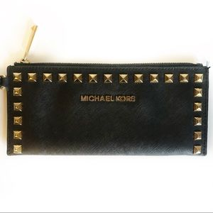 Michael Kors Black and Gold Studded Wristlet